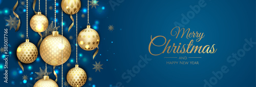 Fotografia Merry Christmas web banner, gold and red xmas ball