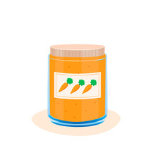 Carrot Puree. Supplemental Baby Food Products. Feeding Small Child Vector Illustration. Cartoon