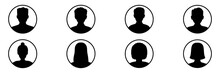Men And Women Head Business Silhouette Icon Set. Human Black Avatar Vector In Line Circle Isolated On White. Male And Female Profile Picture Illustration.