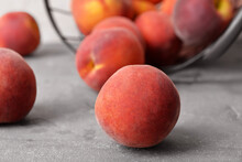 Sweet Ripe Peaches On Table