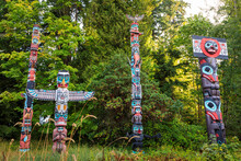 First Nation Totem Poles, Brockton Point, Stanley Park, Autumn, Vancouver City, British Columbia, Canada