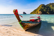 Longtail Boats On Tup Island, Krabi Province, Thailand