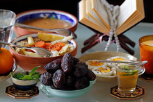 Traditional Meal For Iftar In Time Of Ramadan After The Fast Has Been Broken, France