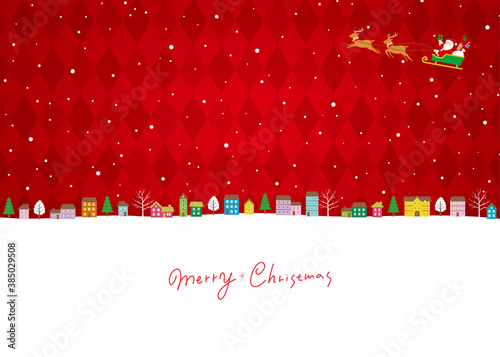 クリスマスの街並み背景、サンタクロースとトナカイのソリ、フルカラーバージョン赤 Canvas