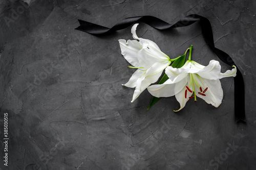Fototapeta Lily funeral flower on dark stone