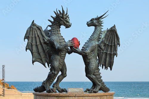 Dragons in Love sculpture in the Sea Garden at the coast of Black Sea in Varna, Bulgaria