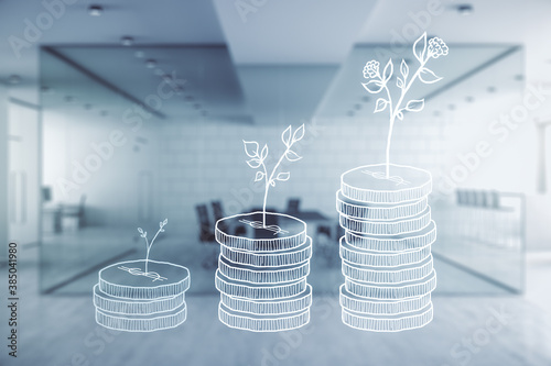 Photo Virtual money savings sketch on a modern furnished office interior background, accumulation and growth of money concept