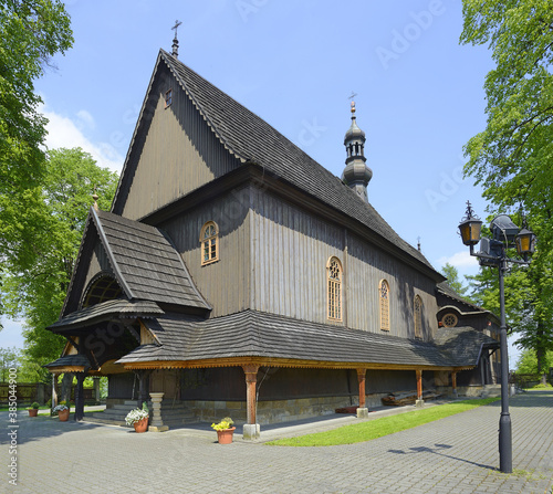 Wooden All Saints' Parich Church in Sobolow dates from the end of the C16th Canvas Print