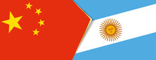 China And Argentina Flags, Two Vector Flags.
