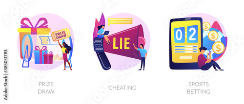 Obraz Lottery awards raffle, unfair victory and fraud, internet gambling problem icons set. Prize draw, cheating, sports betting metaphors. Vector isolated concept metaphor illustrations - fototapety do salonu