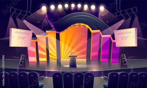 Fotografie, Obraz Stage with tribune, seats and spotlights