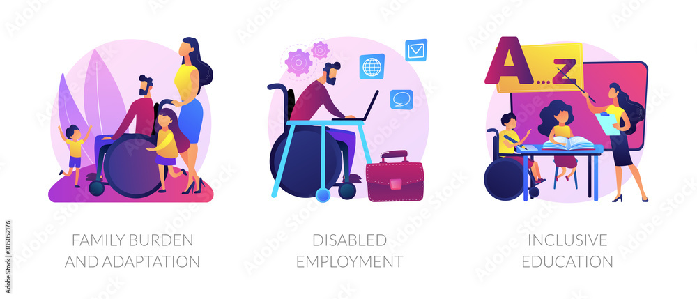 Fototapeta Handicapped people support and rehabilitation flat icons set. Social adaptation of disabled people, disabled employment, inclusive education metaphors. Vector isolated concept metaphor illustrations.