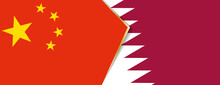 China And Qatar Flags, Two Vec...