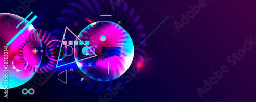 Dark retro futuristic art neon abstraction background cosmos new art 3d starry sky glowing galaxy and planets blue circles - 385053141