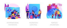 Population Displacement, Refugees Metaphors. Forced And International Migration, Asylum Seekers, Emigrants Control. National Borders Crossing Abstract Concept Vector Illustration Set.