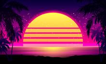 Retro 80s Style Tropical Sunse...