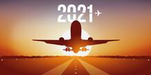 Carte De Vœux 2021 Pour Les Compagnies Aériennes, Montrant Un Avion Prenant Son Envol, En Décollant De La Piste D'un Aéroport Devant Un Coucher De Soleil.