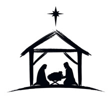 Nativity Scene Silhouette Banner Design With Manger Cradle For Baby Jesus, Holiday Holly Night. Vector Illustration For Christmas Cut File Scrapbook