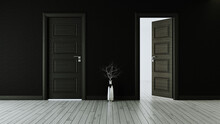 Black Wall With Black Opened D...
