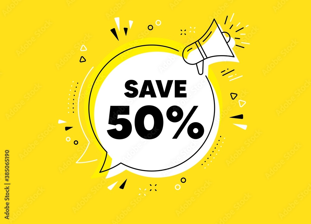 Obraz Save 50% off. Megaphone yellow vector banner. Sale Discount offer price sign. Special offer symbol. Thought speech bubble with quotes. Discount chat think megaphone message. Vector fototapeta, plakat