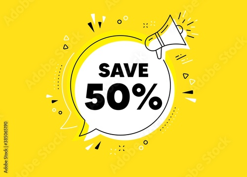 Fototapeta Save 50% off. Megaphone yellow vector banner. Sale Discount offer price sign. Special offer symbol. Thought speech bubble with quotes. Discount chat think megaphone message. Vector obraz