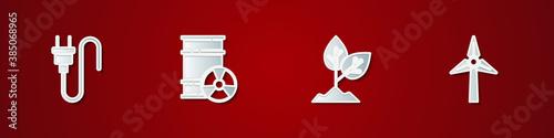 Photo Set Electric plug, Radioactive waste in barrel, Plant and Wind turbine icon