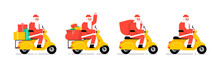 Santa Claus Driving Scooter. F...