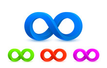 Infinity Color Icon, Sign Element Graphic, Vector
