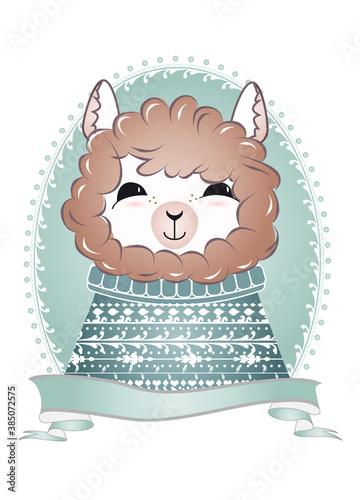 Naklejka premium zauberhaftes Alpaka Porträt mit Strickpullover