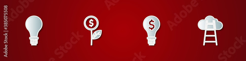 Set Light bulb with concept of idea, Dollar plant, dollar and Stair finish flag icon Wallpaper Mural