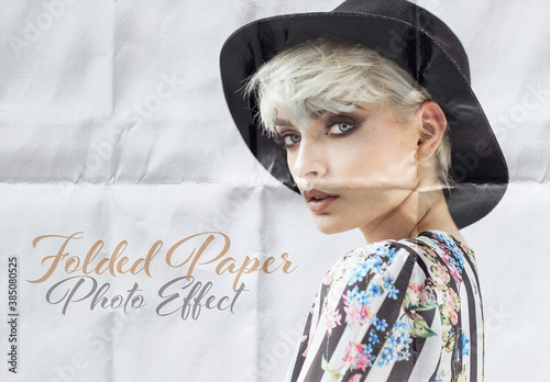 Folded Paper Sheet Photo Effect Mockup