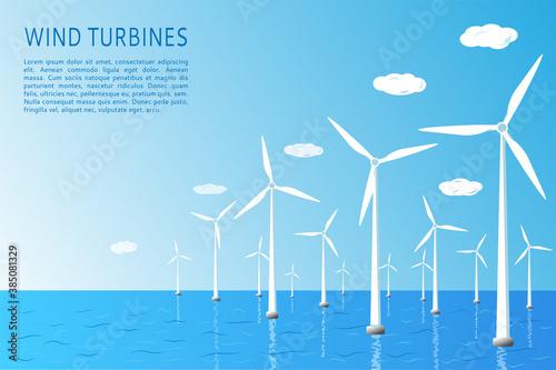Fotografie, Obraz Wind turbines on the water