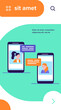 Video chat on phone. Girls using smartphones for conference call flat vector illustration. Online communication, internet technology concept for banner, website design or landing web page