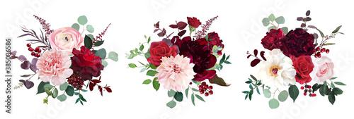 Classic luxurious red roses, pink carnation, ranunculus, dahlia, white peony Fototapet