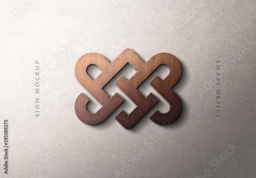 Natural 3D Wood Logo Sign Mockup