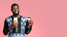 Happy Black Guy Shopping Online, Using Mobile Phone