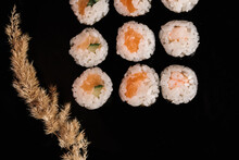 Classic Rolls -this Is One Of The National Dishes Of Japan, Which Is Very Popular All Over The World Presented On A Wooden Tray