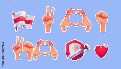 Belarus opposition symbols on stickers. Vector cartoon icons of white-red-white flag, heart, fist and victory hand gestures, shield with sword and red heart. Signs of protest and support Belarus