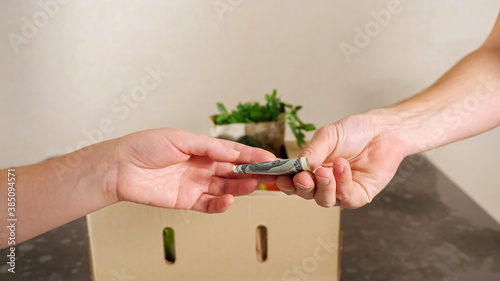 Papel de parede Delivery man bring fresh food to customer's home and recipient gives dollar banknote closeup