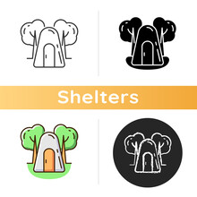 Single-person Air Raid Shelter Icon. One-person Bunker. Cage-like Construction. Protection Against Air-strikes And Bombardments. Linear Black And RGB Color Styles. Isolated Vector Illustrations