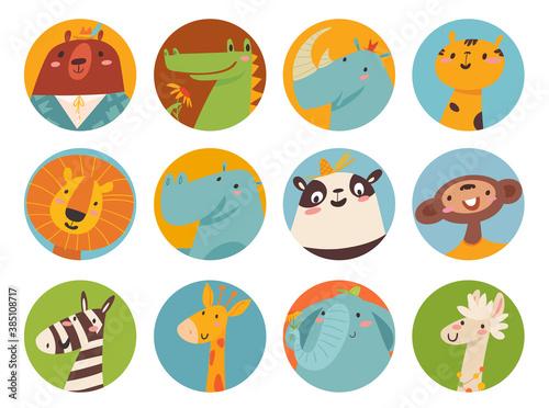 Naklejka premium Big vector set of cute cartoon animals faces in flat style