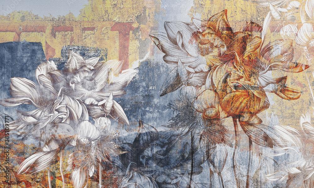 Water lilies, pitchers. Flowers painted. Stunningly beautiful, vintage, modern murals, wallpaper, wall murals, photowallpaper, cover, postcard on an interesting, unusual background.