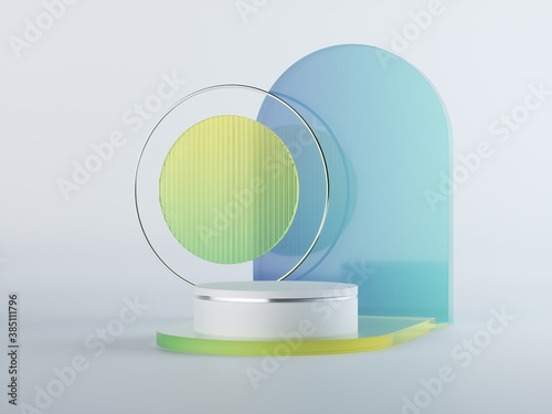 3d render, abstract geometrical background with blue green translucent glass shapes. Modern minimal showcase mockup. Vacant pedestal, empty podium, stage platform for commercial product displaying