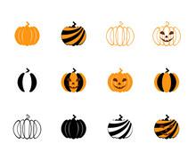 Set Of Halloween Pumpkin Icons. Vector Illustration.