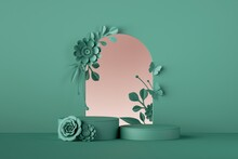 3d Render, Mint Green Floral Background. Botanical Arch, Blank Frame With Paper Flowers, Empty Cylindrical Pedestals Or Podium, Product Showcase.