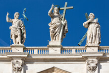 Figure Of Jesus And Apastols On The Top Of The Facade Of Saint Peter's Basilica, Vatican, Rome, Italy