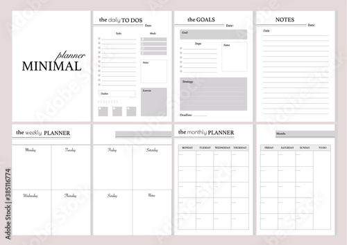 Obraz Set of minimalistic planners 2021 with pink floral cover.  Monthly, weekly,daily planner template. Business and time management. Paper sheet. Vector illustration. - fototapety do salonu