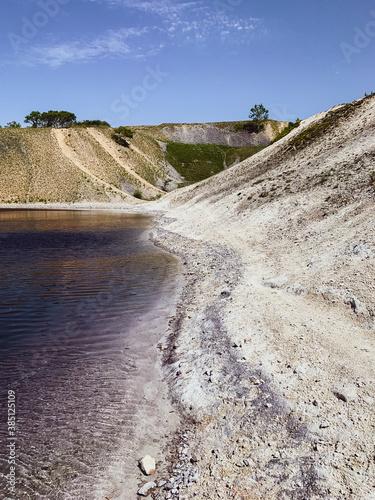 Photo Blue lagoon, blue lake, contaminated lake, Buxton, England, UK