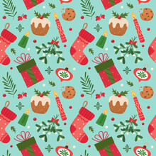 Cute Seamless Christmas Pattern With Seasonal Elements. Vector Illustration.