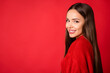 Leinwandbild Motiv Turned photo of positive girl look in camera beaming smile isolated over empty space red bright background